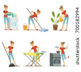housewife make different... | Shutterstock .eps vector #700182994