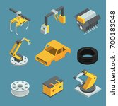car factory. different technic... | Shutterstock .eps vector #700183048