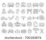 Stock vector vector mono line pictures of automobile parts repair car services 700183876