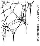 black torn spider web on white... | Shutterstock . vector #700184704
