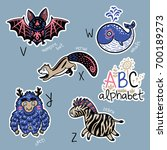set of cute patch badges with... | Shutterstock .eps vector #700189273