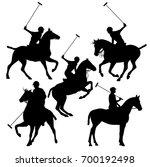 polo horsemen silhouette set  ...