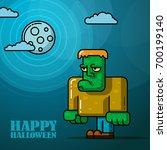 happy halloween full moon night ... | Shutterstock .eps vector #700199140
