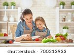 healthy food at home. happy... | Shutterstock . vector #700213933