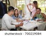 wedding dressmaker designer and ... | Shutterstock . vector #700219084