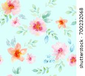 watercolor floral seamless... | Shutterstock . vector #700232068