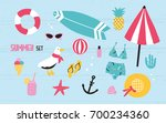 colorful summer set with hand... | Shutterstock .eps vector #700234360