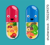 happy pills with face and smile ... | Shutterstock .eps vector #700239370