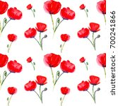 seamless bright red poppies.... | Shutterstock . vector #700241866