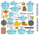 kitchen utensils flat icons set.... | Shutterstock .eps vector #700245196