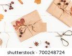 autumn composition. gift ...   Shutterstock . vector #700248724