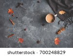 autumn composition. cup of... | Shutterstock . vector #700248829
