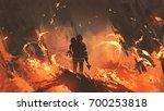 firefighter holding girl... | Shutterstock . vector #700253818