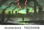 man looking at giant monster... | Shutterstock . vector #700254508