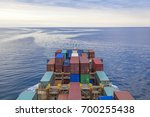 container ship on baltic sea