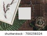 wedding invitation mock up and... | Shutterstock . vector #700258324