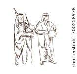 hand drawn sketch of arabic... | Shutterstock .eps vector #700258978