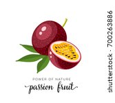 superfood fruit. passion fruit. ... | Shutterstock .eps vector #700263886