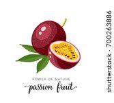 superfood fruit. passion fruit. ... | Shutterstock .eps vector #700263886