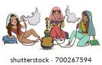 arab women smoke hookah.... | Shutterstock .eps vector #700267594