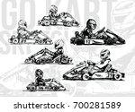 go kart racers. hand drawn...   Shutterstock .eps vector #700281589