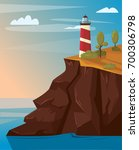 lighthouse on the rock with sea.... | Shutterstock .eps vector #700306798