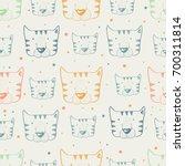 tiger  seamless pattern hand... | Shutterstock .eps vector #700311814