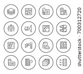 set round line icons of... | Shutterstock .eps vector #700312720