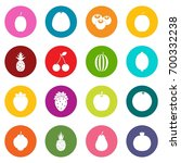 fruit icons many colors set... | Shutterstock .eps vector #700332238