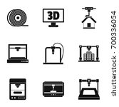 3d printer construct icon set....