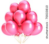 Pink balloons romantic Love party decoration. Happy Birthday celebration honeymoon greeting card romantic and sentimental. Detailed 3d render. Isolated on white background - stock photo