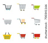 supermarket shop cart icon set. ...   Shutterstock .eps vector #700341166