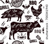 meat cuts and barbecue seamless ... | Shutterstock .eps vector #700341940