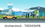 many passengers are waiting for ...   Shutterstock .eps vector #700343698