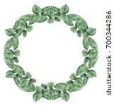 hand painted watercolor wreath... | Shutterstock . vector #700344286