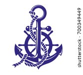 anchor and ships wheel symbol... | Shutterstock .eps vector #700349449