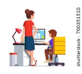 mother watching over shoulder... | Shutterstock .eps vector #700351510