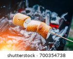 Marshmallow On Skewers Is Frie...