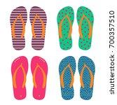 set of multi colored flip flops ... | Shutterstock .eps vector #700357510
