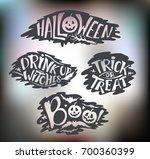 happy halloween calligraphy...   Shutterstock .eps vector #700360399