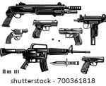 guns  pistol and revolver   Shutterstock .eps vector #700361818
