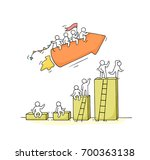 sketch of working little people ... | Shutterstock .eps vector #700363138