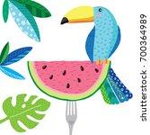 cute summer bright toucan | Shutterstock .eps vector #700364989
