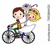 bride groom on bicycle | Shutterstock . vector #700384420