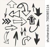 hand draw vector set of arrow... | Shutterstock .eps vector #700385116