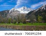 panoramic view of chamonix and... | Shutterstock . vector #700391254