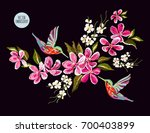 embroidery colorful floral... | Shutterstock .eps vector #700403899