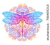 Stock vector exquisite ornate stylized dragonfly spiritual esoteric totem symbol of africa india america 700405213
