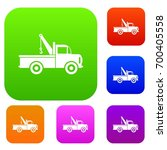 car towing truck set icon in... | Shutterstock .eps vector #700405558