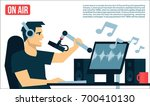 radio dj on air in radio studio ... | Shutterstock .eps vector #700410130